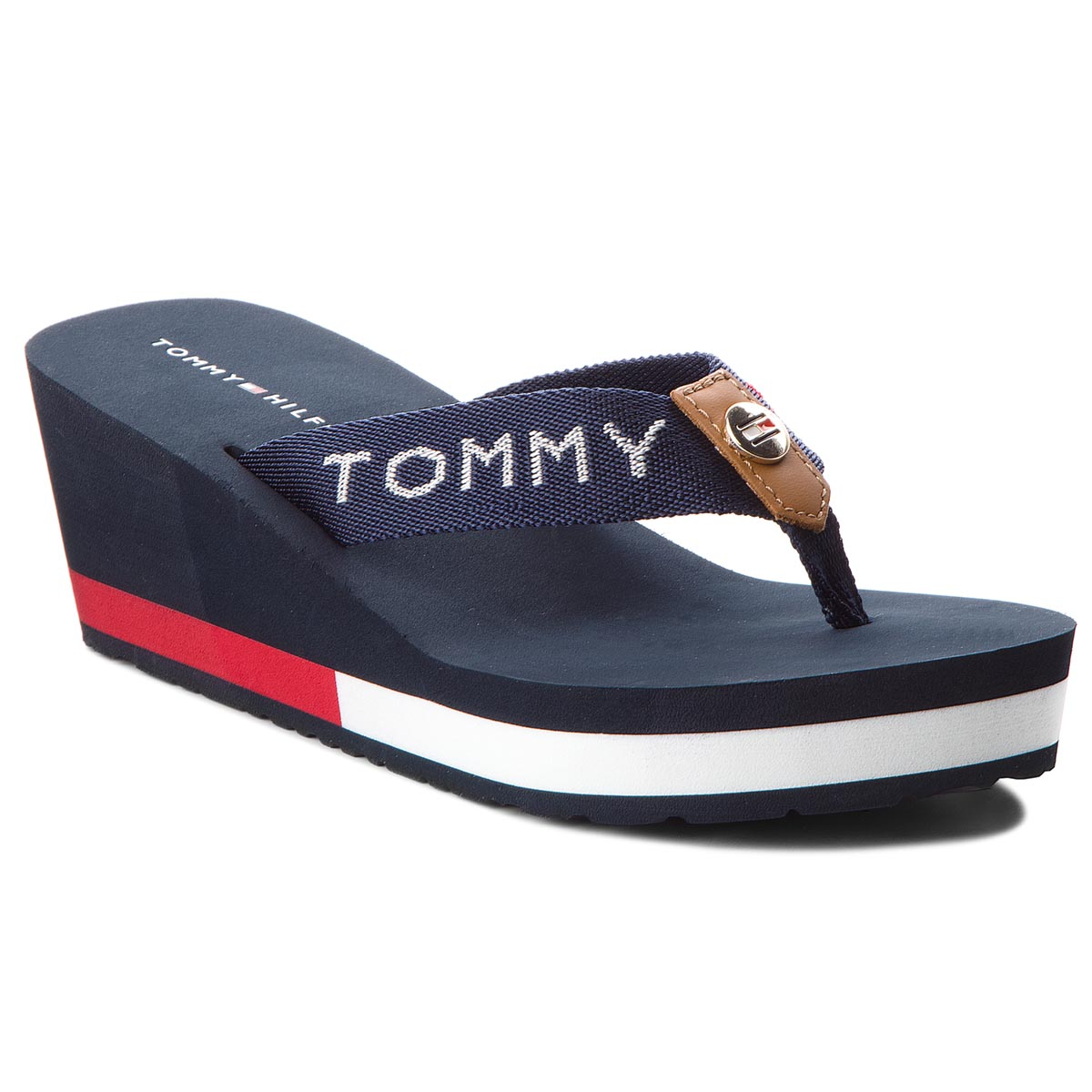 36b66ac4d9165 Slides TOMMY HILFIGER - Glitter Webbing Mid Beach Sandal FW0FW04244 ...
