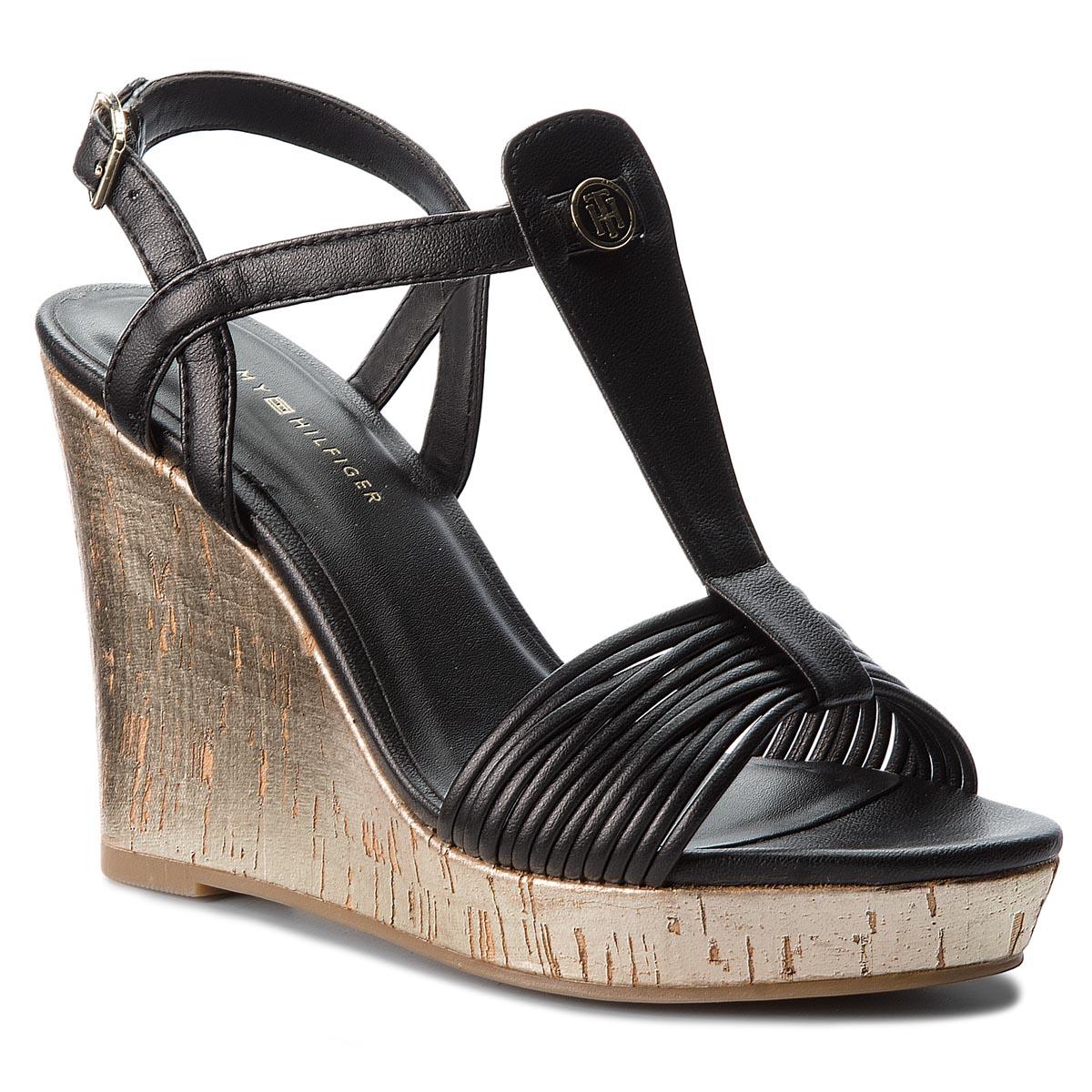 92a8ab4c5fc23 Sandals TOMMY HILFIGER Refined Strappy Wedge Sandal FW0FW03023 Black 990