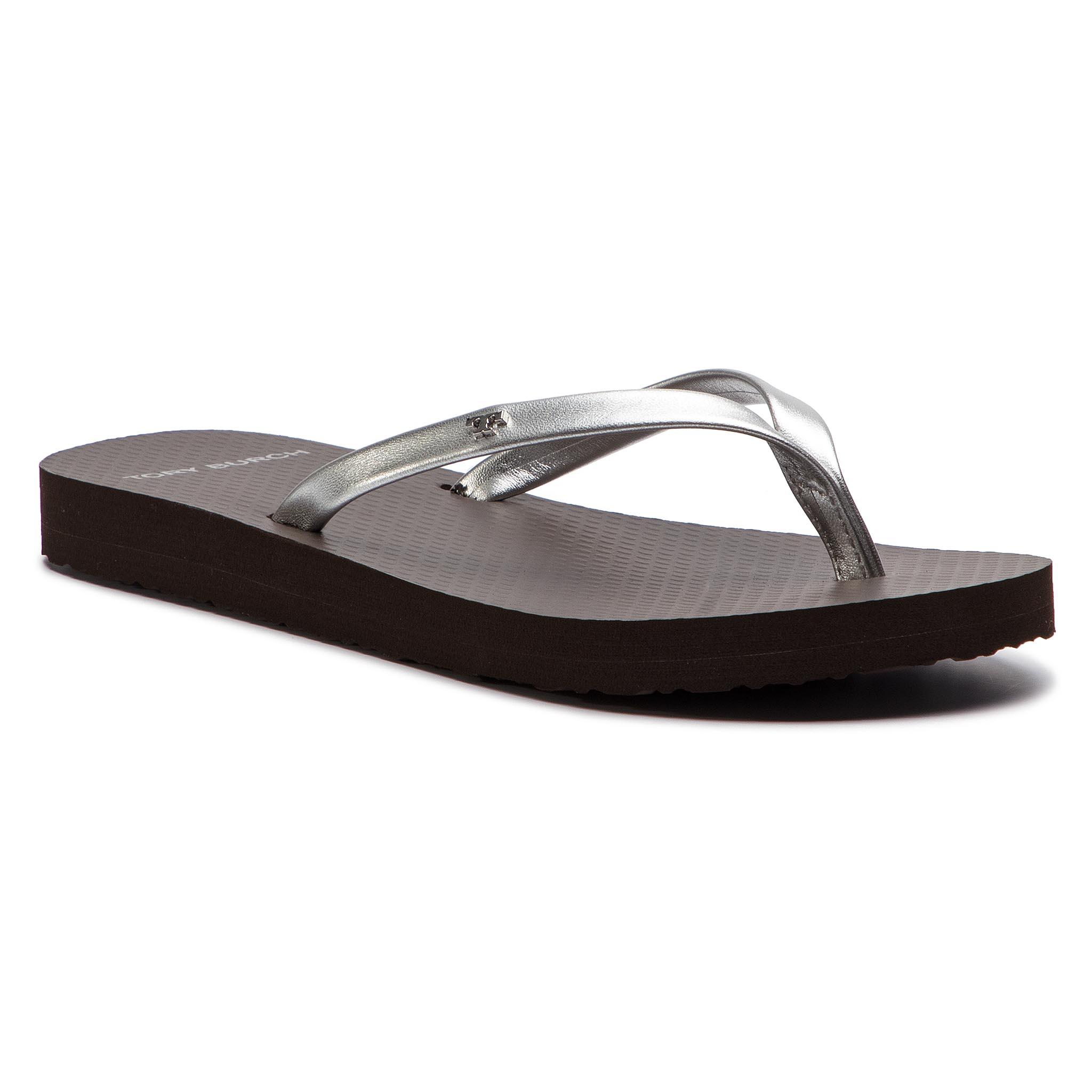 606ca94d6 Slides TORY BURCH Metallic Leather Flip Flop 54890 Silver Demi Tasse 040