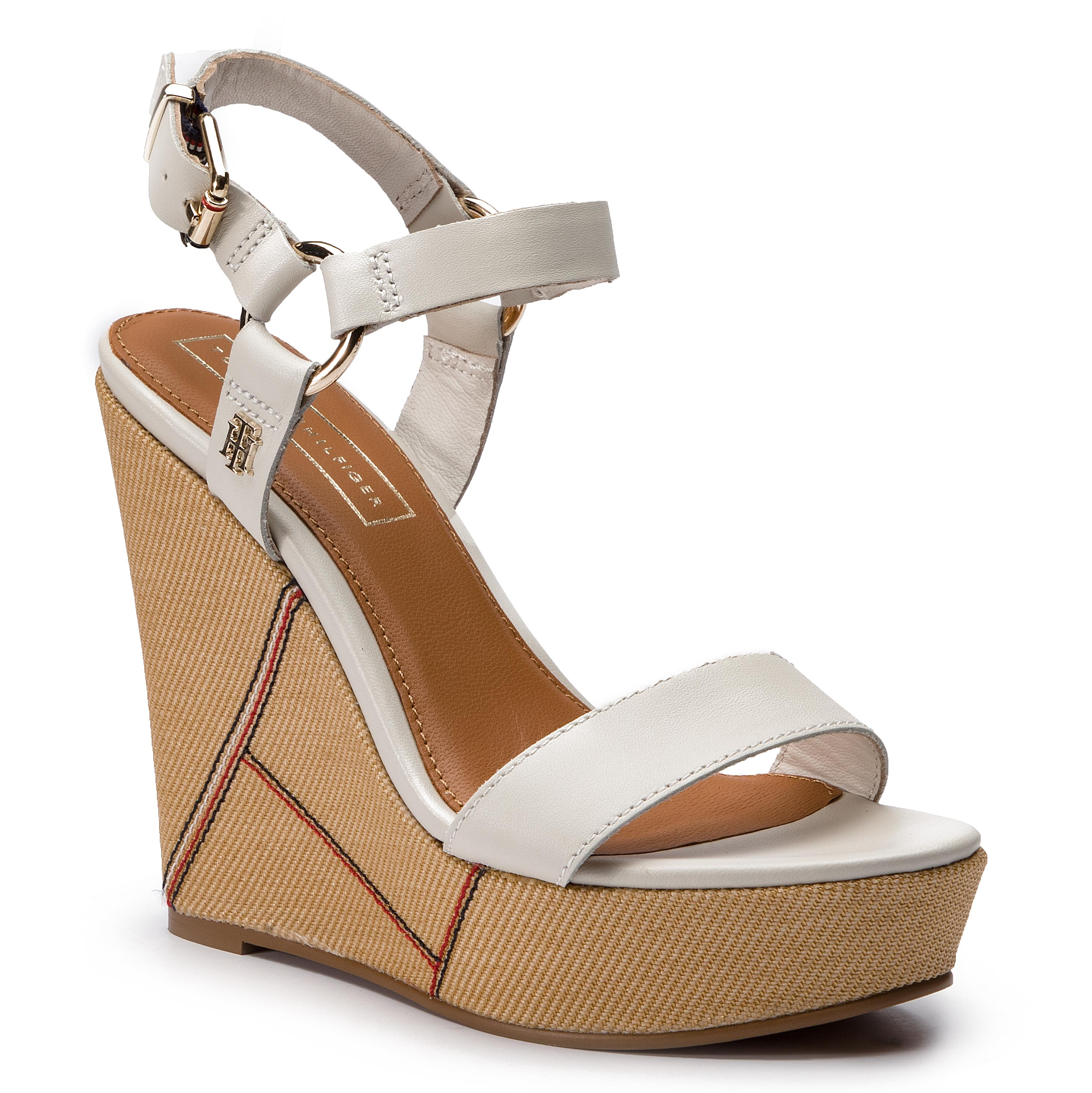 70441c303 Sandals TOMMY HILFIGER Elevated Leather Wedge Sandal FW0FW03943 Whisper  White 121