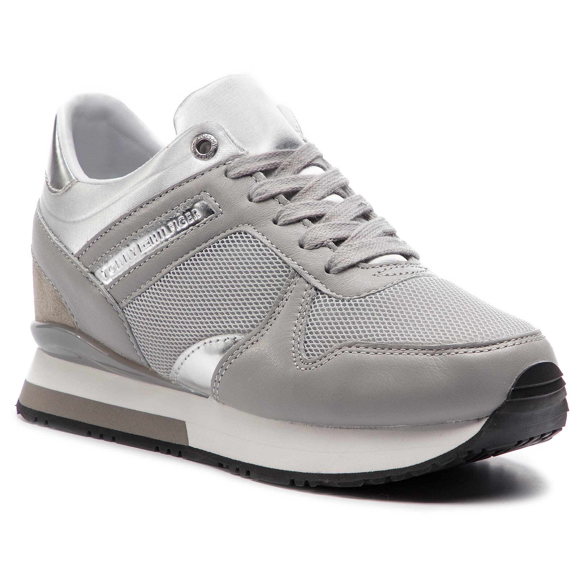 1d88f8c3e3806 Sneakers TOMMY HILFIGER Glitter Textile Wedge Sneaker FW0FW03893 Diamond  Grey 001