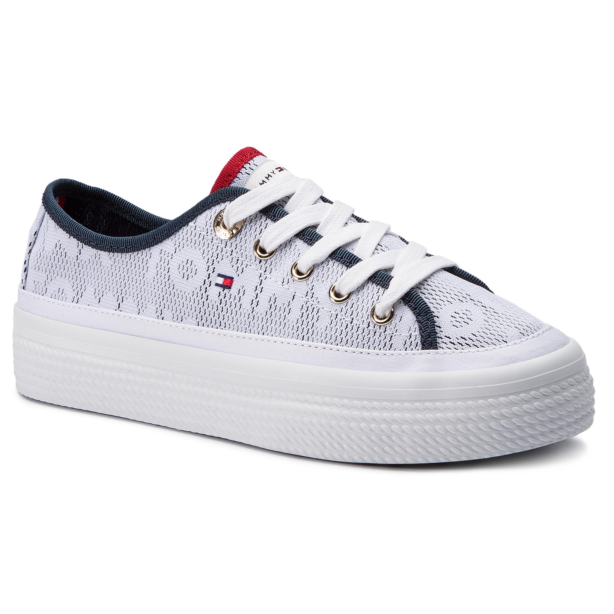 9f6c7cae8799b Plimsolls TOMMY HILFIGER Jacquard Flatform Sneaker FW0FW04071 White 100