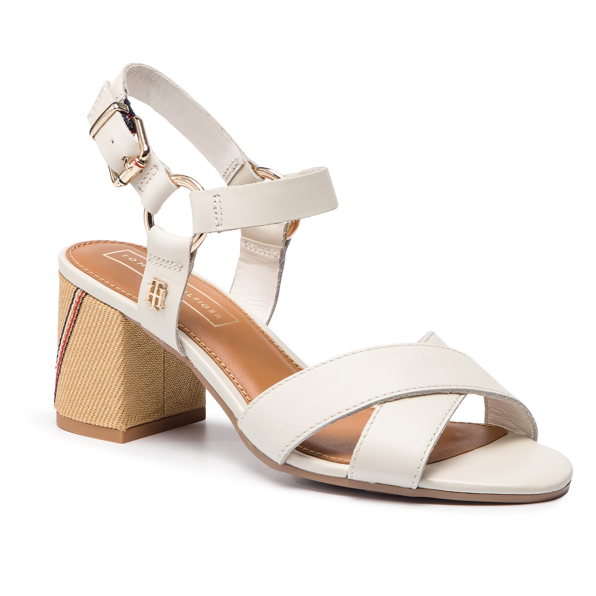 ccdc9c702f59 Sandals TOMMY HILFIGER Elevated Leather Heeled Sandal FW0FW04072 Whisper  White 121