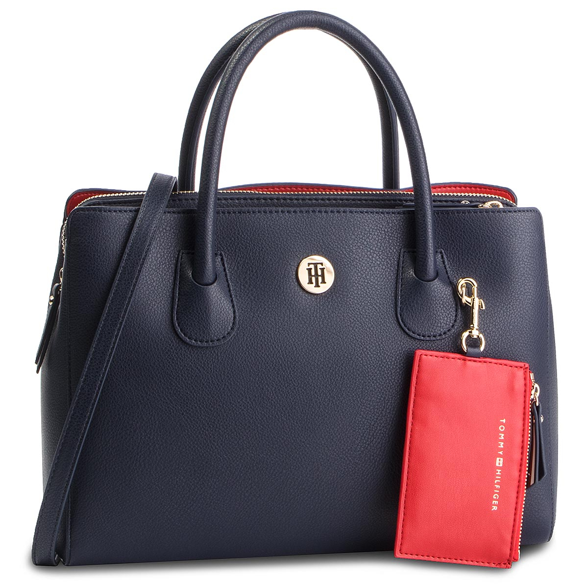 8d2edd332b54b Handbag TOMMY HILFIGER - Cool Hardware Med Satchel Stripe AW0AW04946 ...