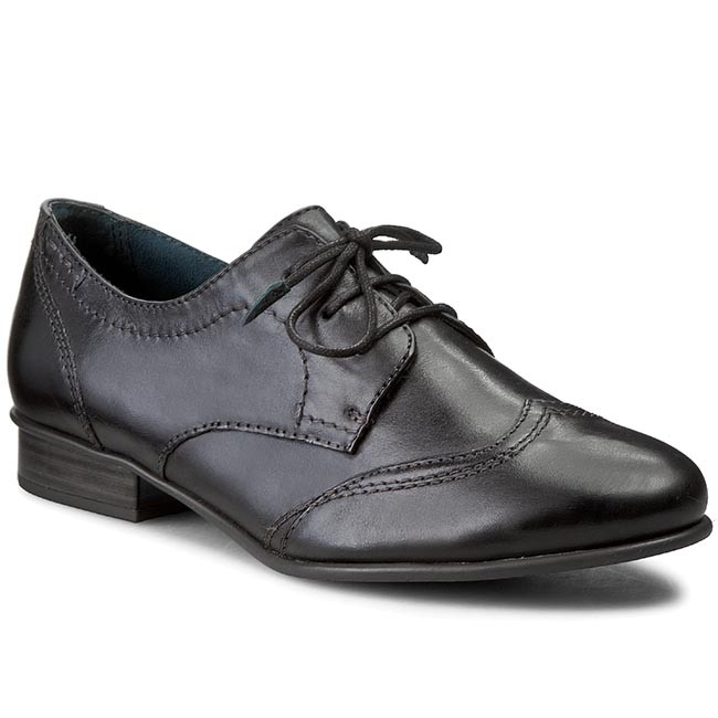 25 Leather Black shoes TAMARIS 23203 Oxfords 1 Low 003 Oxfords XqZt1nwFW