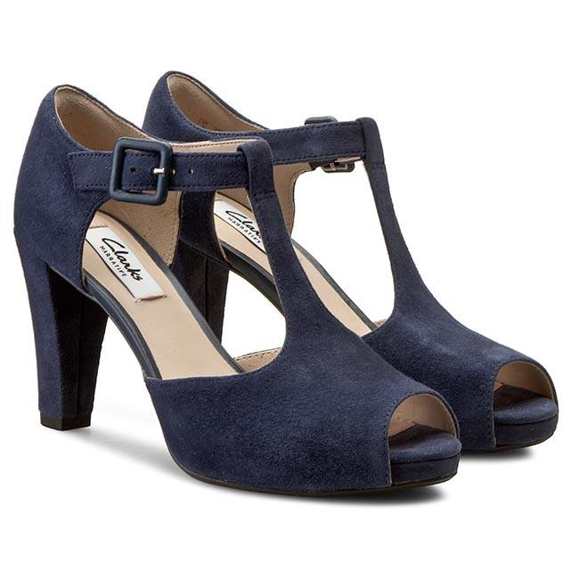 5db2ebe0a03 Shoes CLARKS - Kendra Flower 261145784 Navy Suede - Heels - Low shoes -  Women s shoes - www.efootwear.eu