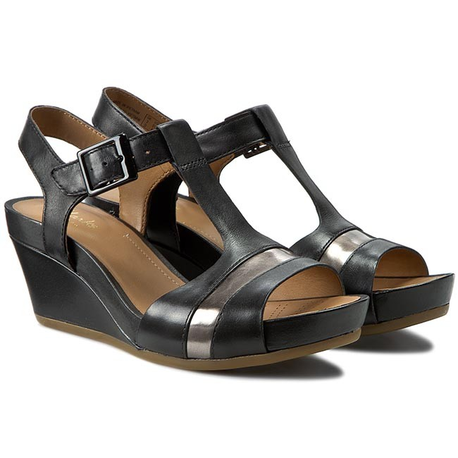 9b1bd8fa0166ef Sandals CLARKS - Rusty Rebel 261157804 Black Leather - Casual sandals -  Sandals - Mules and sandals - Women s shoes - www.efootwear.eu