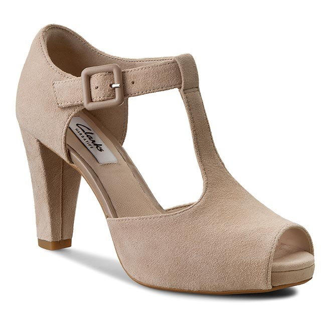 6190587f8a3 Shoes CLARKS - Kendra Flower 261145814 Sand Suede - Heels - Low ...