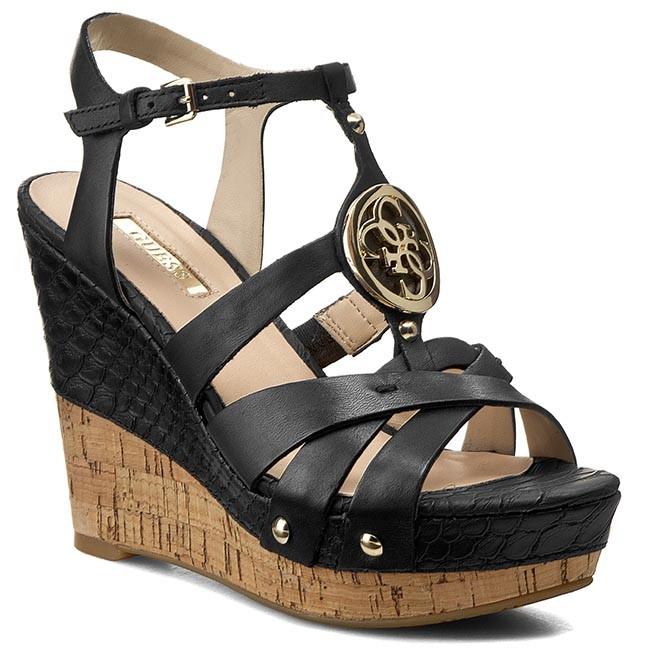 9fcc950f995 Sandals GUESS - Okie FLOKI2 LEA03 BLACK - Casual sandals - Sandals ...