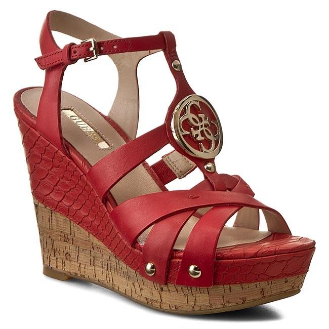 c4cc08e29b7 Sandals GUESS - Okie FLOKI2 LEA03 RED - Casual sandals - Sandals ...