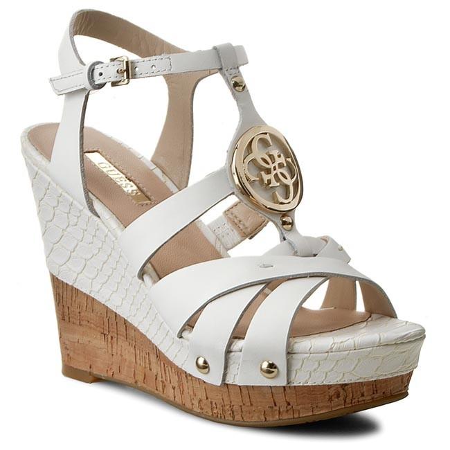 e5647126a4d Sandals GUESS - Okie FLOKI2 LEA03 WHITE - Casual sandals - Sandals ...