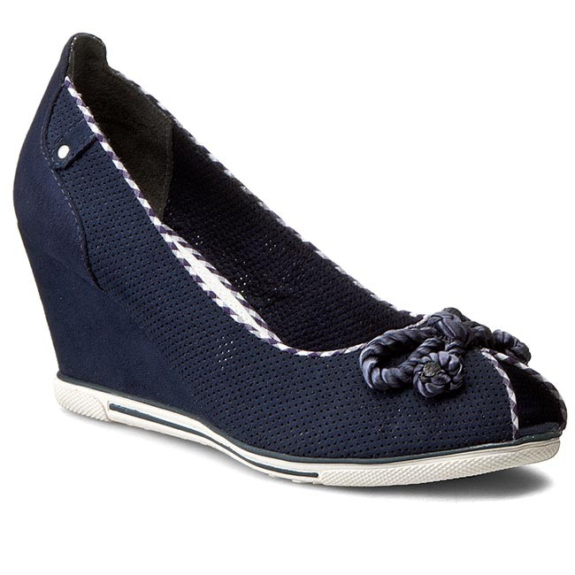 Shoes MARCO TOZZI - 2-29305-26 Navy 805 - Wedge-heeled shoes - Low ... acb400ba89