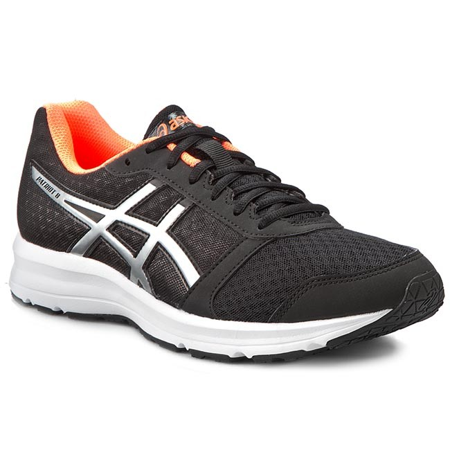 Mens Shoes ASICS Patriot 8 Black/Silver/Hot Orange