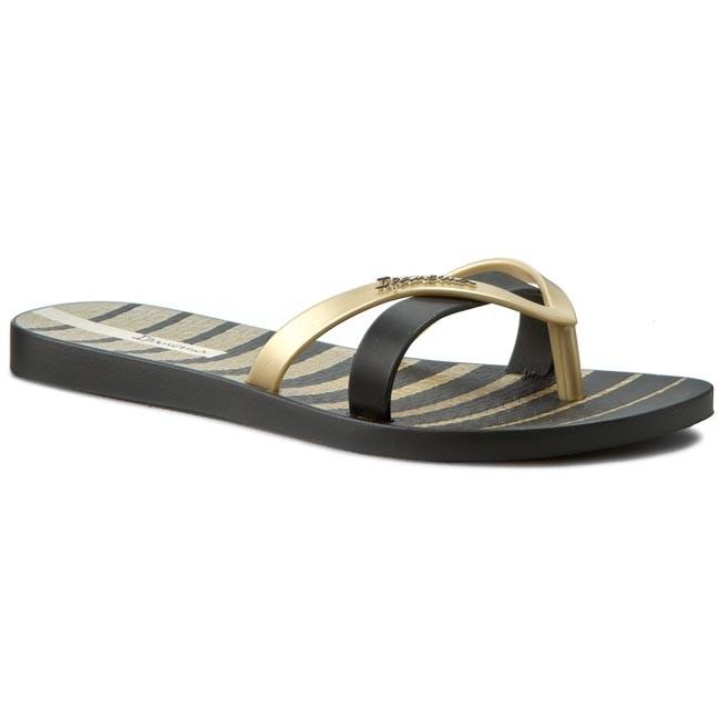 Womens Kirei Fem Flip Flops, Black/Gold Ipanema