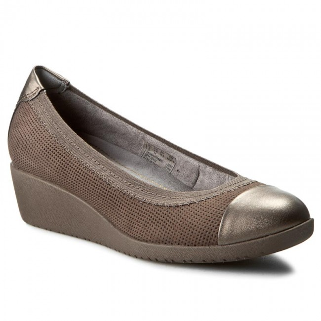 d718cd7a2430 Shoes CLARKS - Petula Sadie 261132334 Taupe Nubuck - Wedge-heeled ...