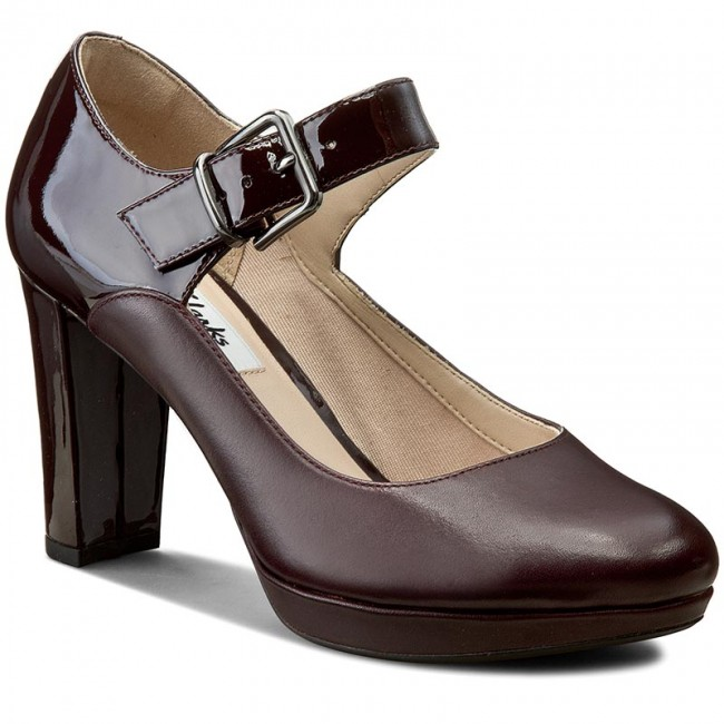 Shoes CLARKS - Kendra Gaby 261188484 Aubergine Leather