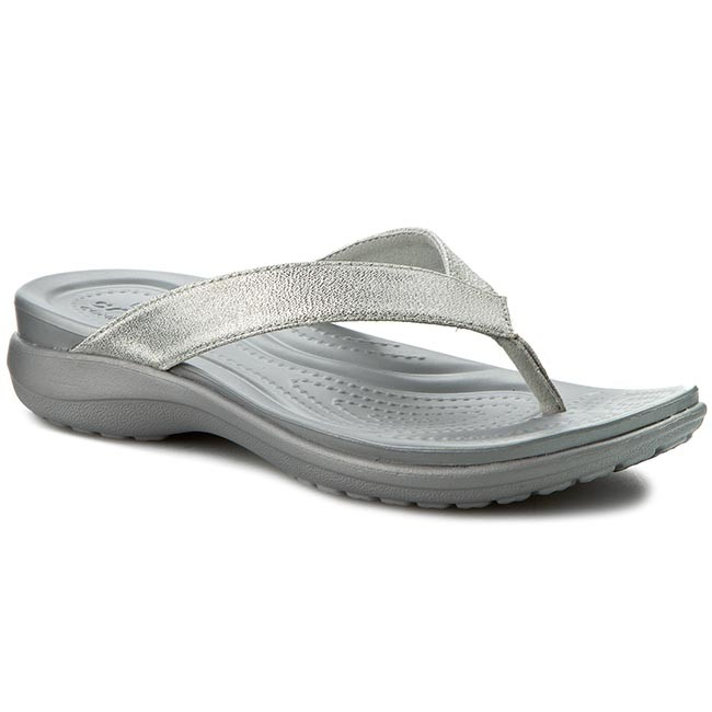 f460db7b9708 Slides CROCS - Capri V Shimmer Flip W 202845 Silver - Flip-flops ...