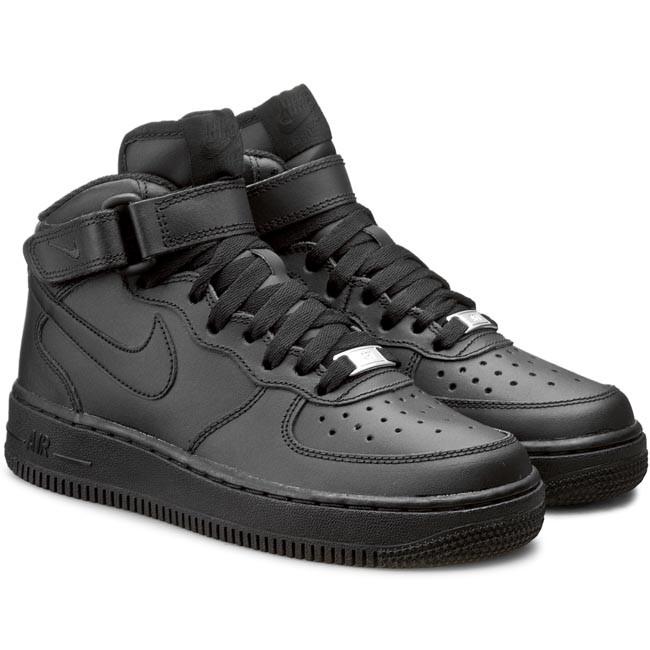 Shoes NIKE - Air Force 1 Mid (GS) 314195 004 Black/Black