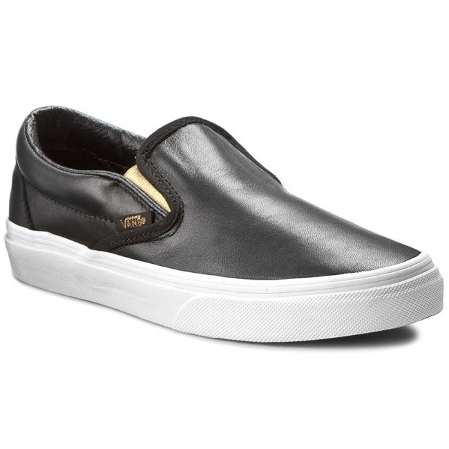 vans classic slip on black black