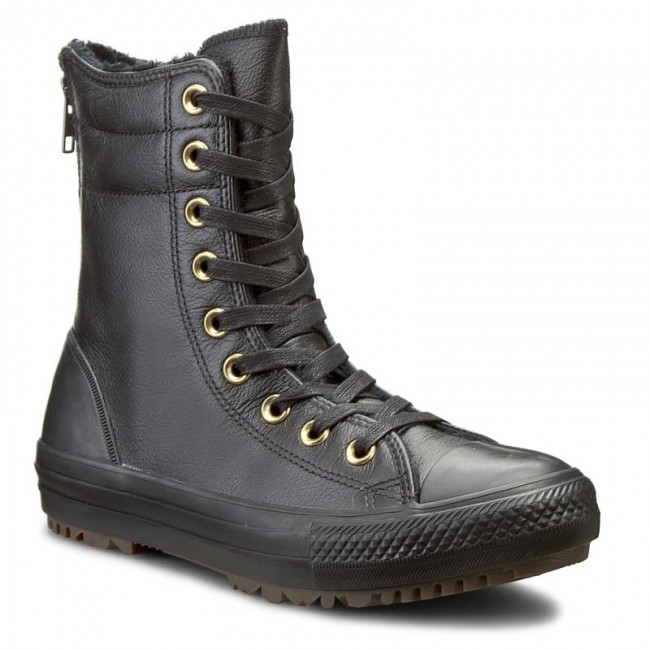 converse hi rise black leather boots