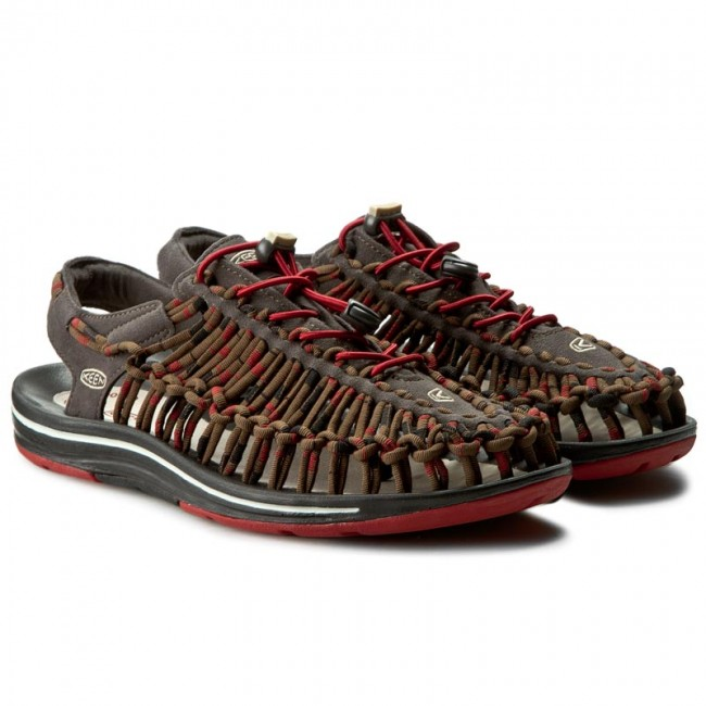 Keen Men/'s Uneek Stripes M Red Dahlia Raya Sandals 1014620