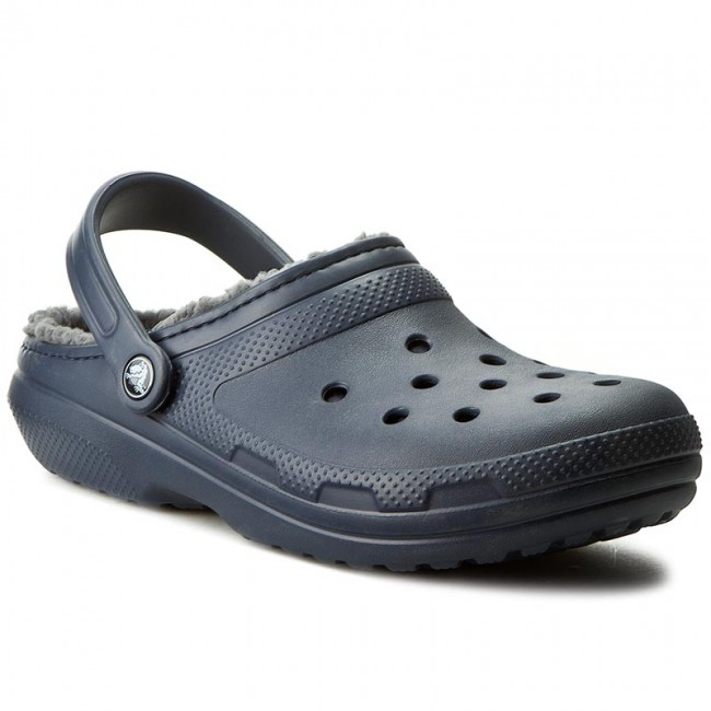 989b98780 Slides CROCS - Classic Lined Clog 203591 Navy Charcoal - Clogs and ...