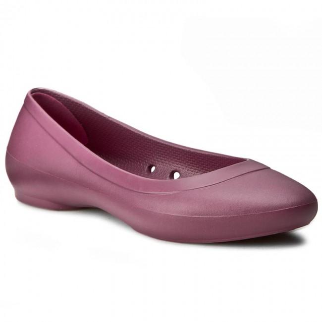e840596b27093 Flats CROCS - Lina Flat W 203404 Plum - Ballerina shoes - Low shoes ...