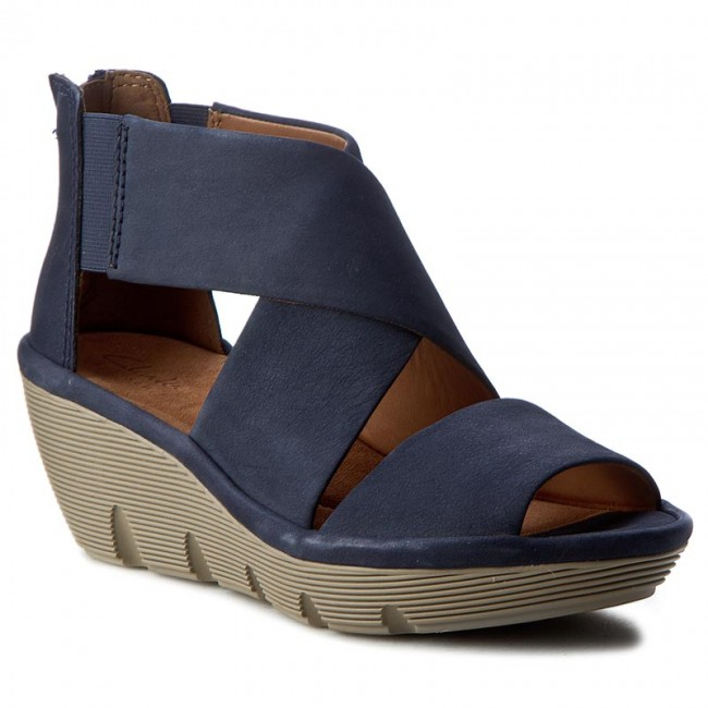 28d089b3b4b2 Sandals CLARKS - Clarene Glamor 26122947 Navy Nubuck - Casual ...