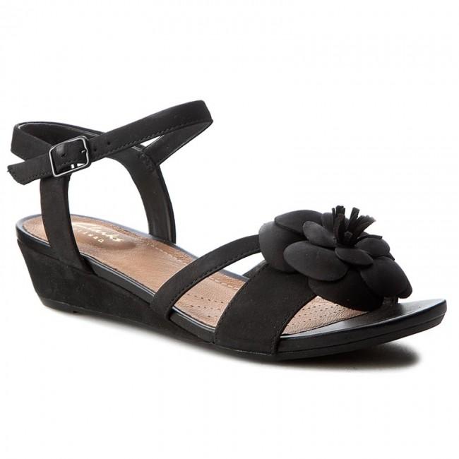 d25491ac383 Sandals CLARKS - Parram Stella 261230224 Black Nubuck - Wedges ...