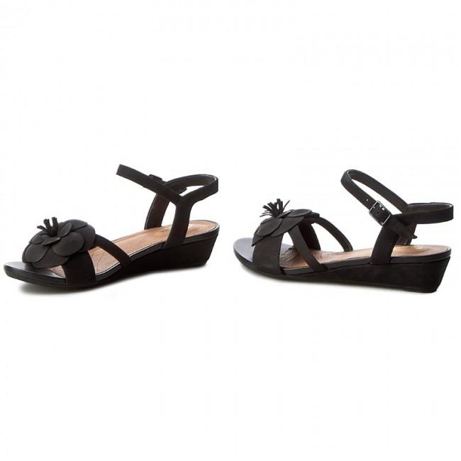 b86d4a4eb654 Sandals CLARKS - Parram Stella 261230224 Black Nubuck - Wedges ...