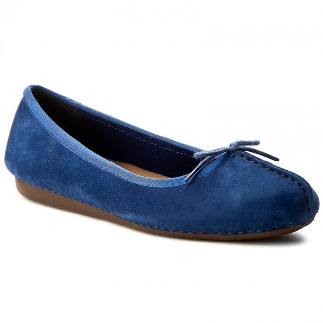 Flats CLARKS  Freckle Ice 261237334 Dark Blue Nubuck  Ballerina shoes  Low shoes  Womens shoes       0000199024498