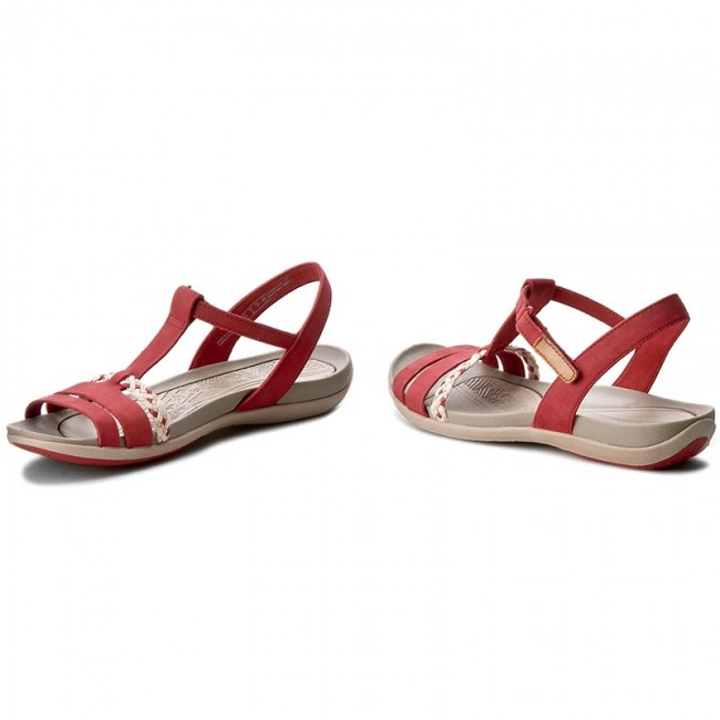 ebd5c5198aa Sandals CLARKS - Tealite Grace 261238924 Red Nubuck - Casual sandals ...