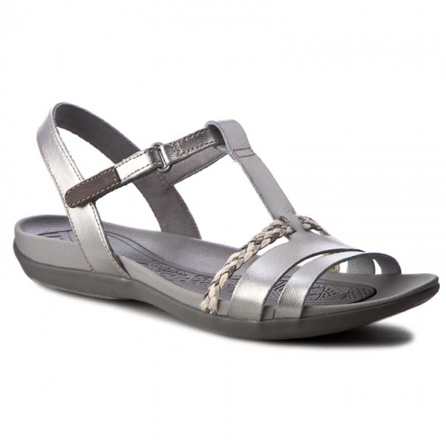5aa1f0ed Sandals CLARKS - Tealite Grace 261239434 Silver Leather - Casual ...