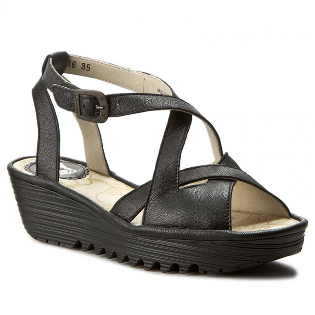 7075b7b54a4ee Sandals FLY LONDON - Randfly P500728000 Black - Wedges - Mules and ...