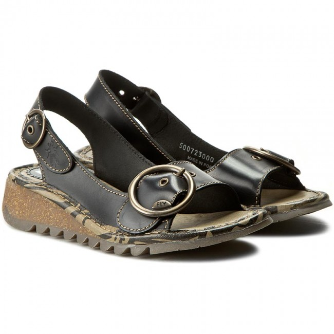 5510e726246c5 Sandals FLY LONDON - Tramfly P500723000 Black - Wedges - Mules and sandals  - Women's shoes - www.efootwear.eu