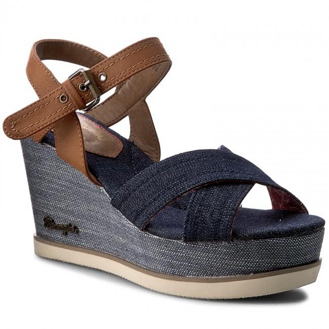 WL0171680 WRANGLER Sandals Indigo Blue Cross 100 Wedges Jeena wIO4Oqf