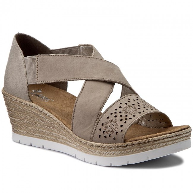 fe717dd409d10b Sandals RIEKER - 61976-42 Grey Combination - Wedges - Mules and ...