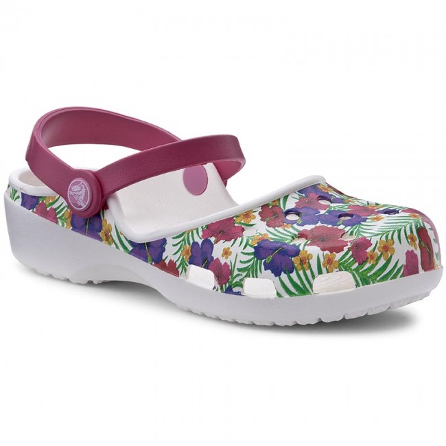 Slides CROCS  Karin Graphic Clog W 204235 WhiteFloral   Casual mules  Mules  Mules and sandals  Womens shoes       0000199557859