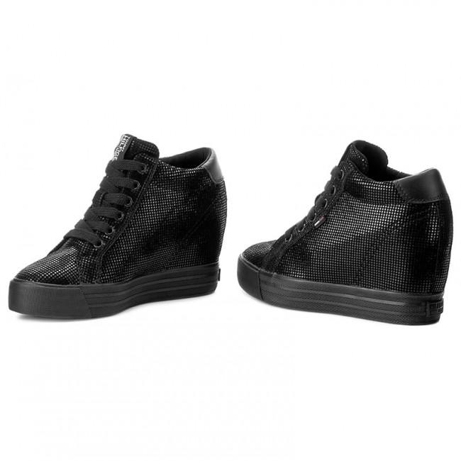 916ab33f Sneakers TOMMY HILFIGER - DENIM Nice Wedge 5Z2 FW0FW01772 Black 990 ...