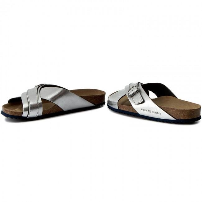 Slides TOMMY HILFIGER - De Sm Lena 1S FW0FW01565 Dark Silver 042 - Casual  mules - Mules - Mules and sandals - Women s shoes - www.efootwear.eu cfdc3fc36e0