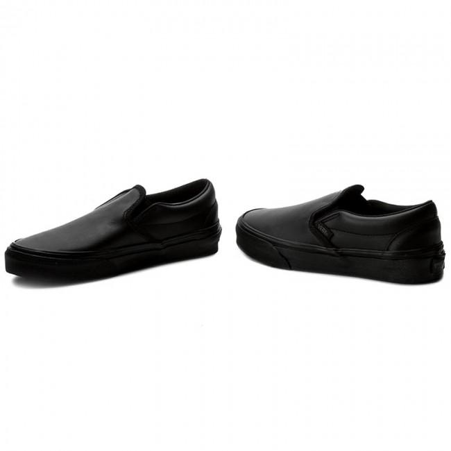 black mono leather vans