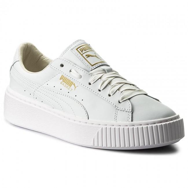 puma basket platform weiß gold