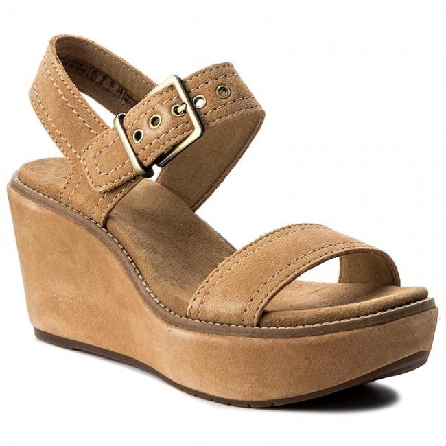 fa22ae27f2e Sandals CLARKS - Aisley Orchid 261252474 Light Tan - Wedge-heeled ...