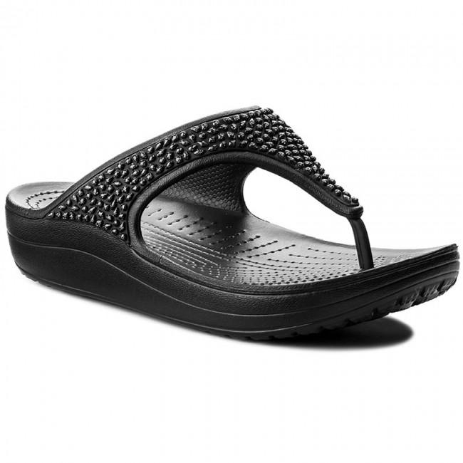 Flip Sloane Slides BlackBlack Embellished CROCS Flip 204181 OPikZuTX