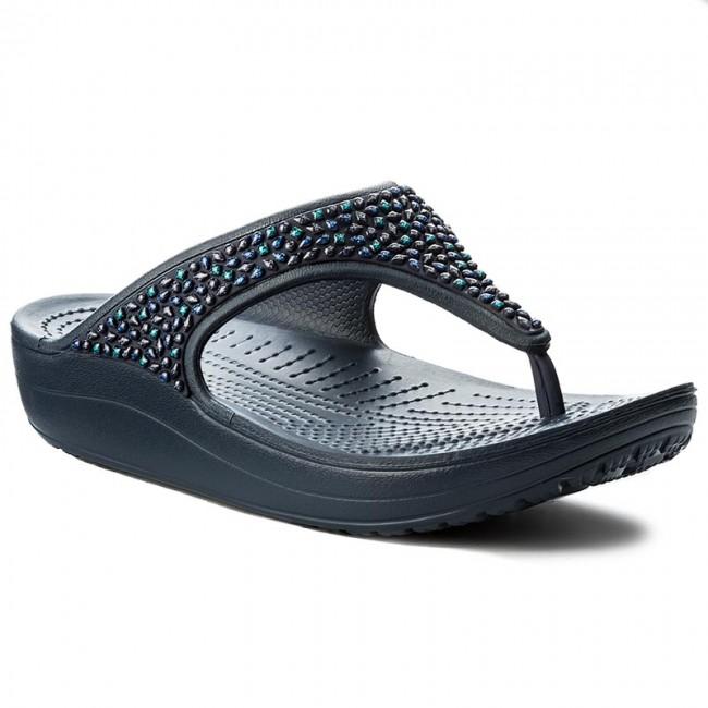 e648d557f0cd86 Slides CROCS - Sloane Embellished Flip 204181 Navy Turquoise - Flip ...