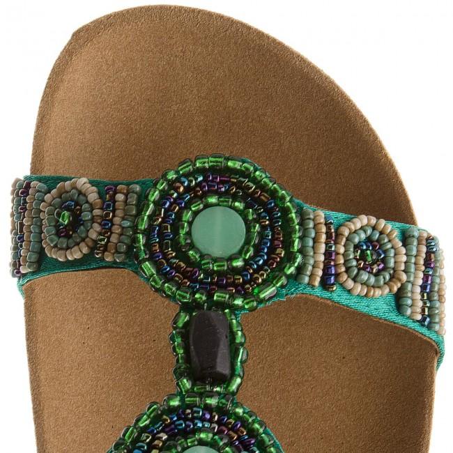 Scholl New Bogota/' Wedge Silver Green Bioprint Footbed Beaded Mule Sandal