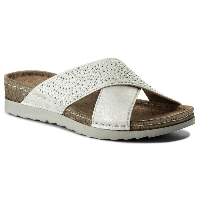 Slides MARCO TOZZI - 2-27502-20 White Met Comb 125 - Casual mules ... a78431912a