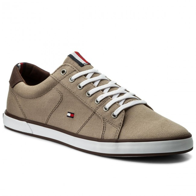 Mens Iconic Long Lace Low-Top Sneakers, Grey Tommy Hilfiger