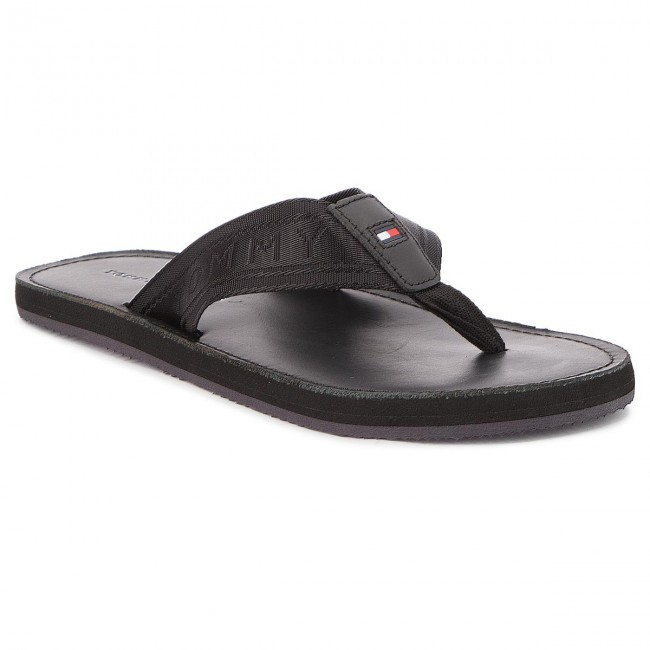 99dc8f47e257 Slides TOMMY HILFIGER - Jacquard Th Leather Beach Sandal FM0FM01365 ...