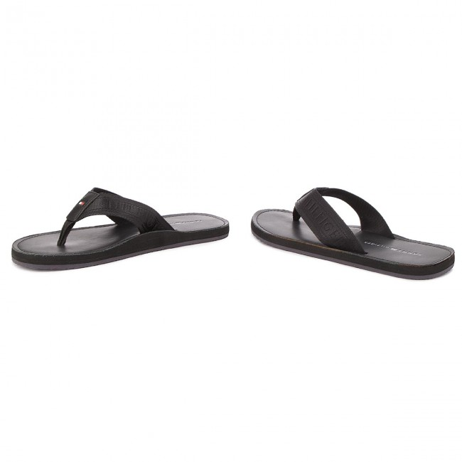 12379882bb14 Slides TOMMY HILFIGER - Jacquard Th Leather Beach Sandal FM0FM01365 Black  990